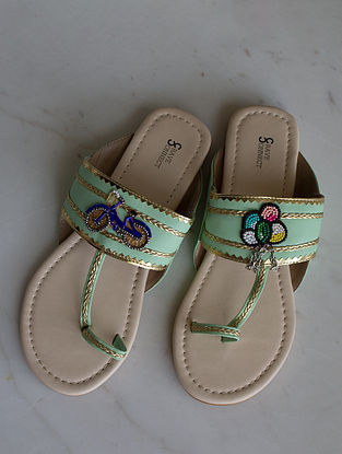 Mint Green Handcrafted Kolhapuri Flats