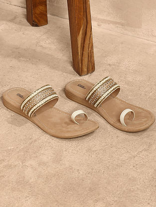 White Gold Handcrafted Leather Flats