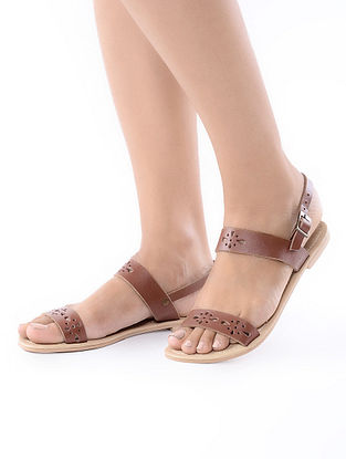 Brown-Beige Handcrafted Leather Flats
