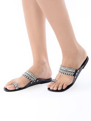 Black-White Handcrafted Leather Flats