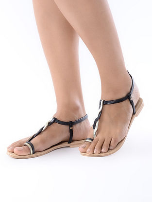 Beige-Black Handcrafted Leather Flats