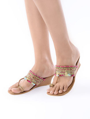 Tan-Pink Handcrafted Leather Wedges