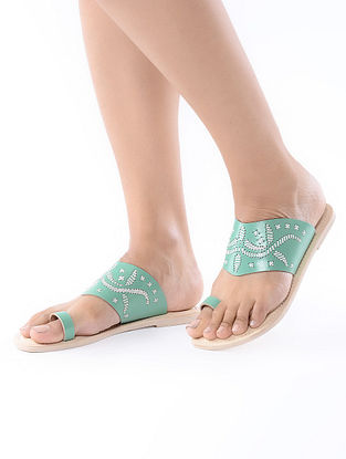 Sea Green-Beige Handcrafted Leather Flats