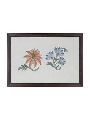 Orange -Purple Marigold Embroidered Wall Art on Silk - 15 in x 10.7 in