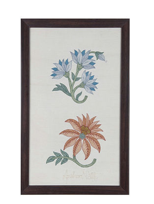 Purple-Blue Marigold Embroidered Wall Art on Silk - 14.7 in x 9.2 in
