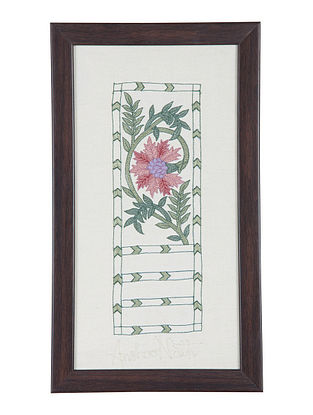 Pink-Green Marigold Embroidered Wall Art on Silk - 12.7 in x 7.1 in