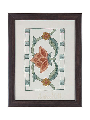 Orange -Green Marigold Embroidered Wall Art on Silk - 10.6 in x 8.6 in