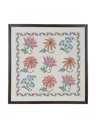 Pink -Blue -Orange Marigold Embroidered Wall Art on Silk - 22 in x 22 in