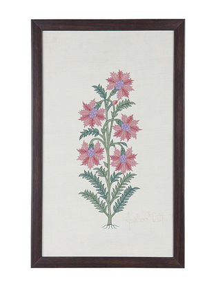 Pink -Green Marigold Embroidered Wall Art on Silk - 17.2 in x 10.6 in