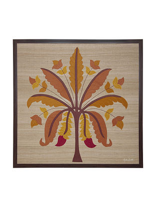 Orange -Yellow Banana Tree Embroidered Wall Art on Silk - 36.5 in x 36.5 in