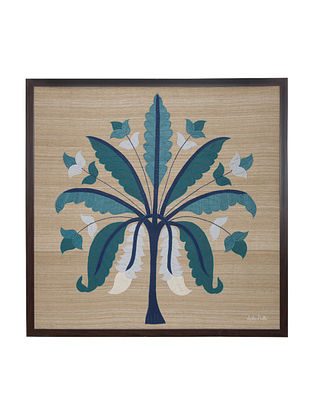 Green -White Banana Tree Embroidered Wall Art on Silk - 36.5 in x 36.5 in