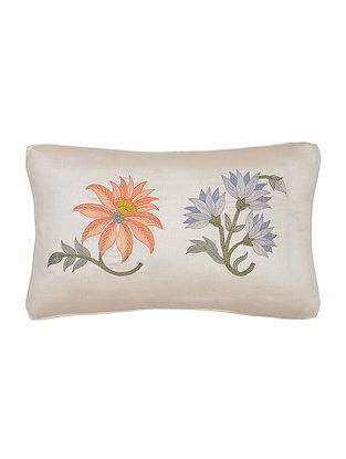 White-Multicolored Embroidered Silk Cushion Cover with Floral Motif- 18in x 12in