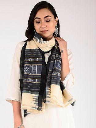 Ivory-Black Sambalpuri Ikat Tussar Silk Stole