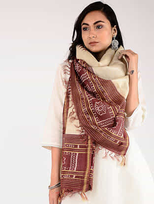 Beige-Red Sambalpuri Ikat Tussar Silk Stole