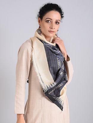 Grey-Cream Handwoven Sambalpuri Ikat Tussar Silk Stole