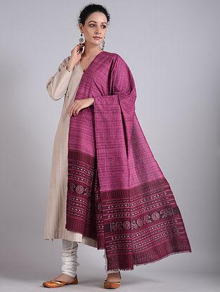 Purple Handwoven Sambalpuri Ikat Cotton Dupatta