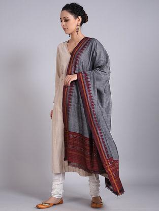 Grey-Maroon Handwoven Sambalpuri Ikat Cotton Dupatta