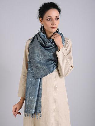 Grey Handwoven Sambalpuri Ikat Tussar Silk Stole
