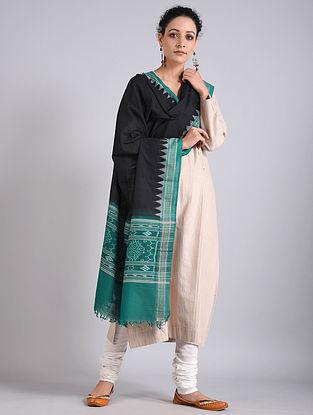 Black-Green Handwoven Sambalpuri Ikat Cotton Dupatta