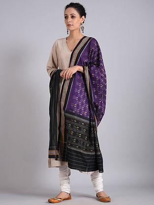 Purple-Black Handwoven Sambalpuri Ikat Cotton Dupatta