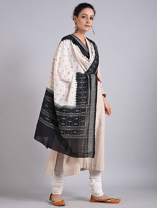 Black-White Handwoven Sambalpuri Ikat Cotton Dupatta