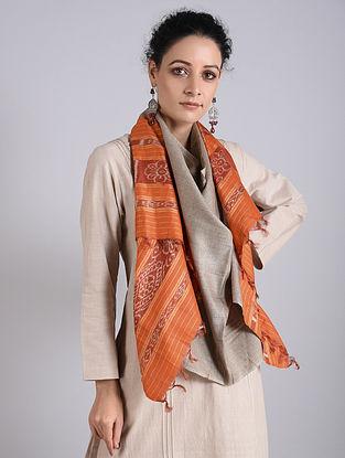 Orange Handwoven Sambalpuri Ikat Tussar Silk Stole