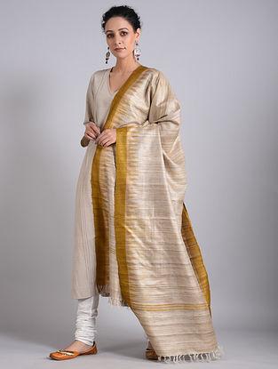 Grey-Golden Handwoven Sambalpuri Ikat Tussar Silk Dupatta