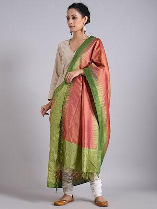 Pink-Green Handwoven Sambalpuri Ikat Tussar Silk Dupatta