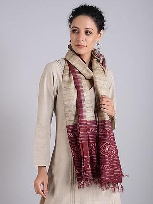 Maroon-Grey Handwoven Sambalpuri Ikat Tussar Silk Stole