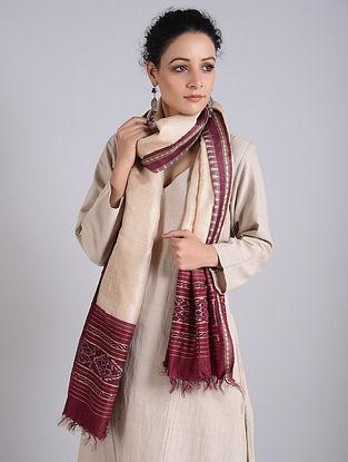 Maroon-Beige Handwoven Sambalpuri Ikat Tussar Silk Stole