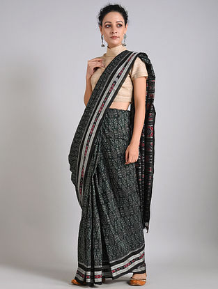 Black-Grey Handwoven Sambalpuri Ikat Cotton Saree
