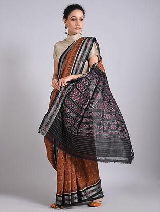 Brown-Black Handwoven Sambalpuri Ikat Cotton Saree
