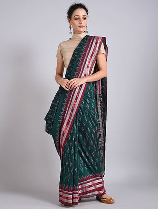 Green-Red Handwoven Sambalpuri Ikat Cotton Saree