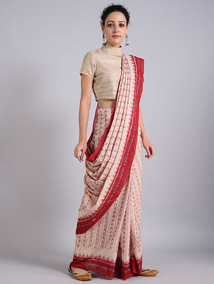 Beige-Red Handwoven Sambalpuri Ikat Cotton Saree
