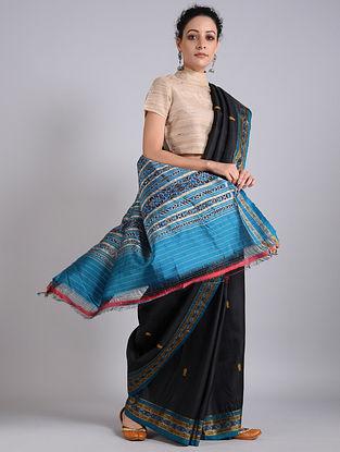 Black-Blue Handwoven Sambalpuri Ikat Silk Saree