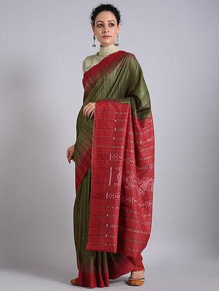 Olive-Red Handwoven Sambalpuri Ikat Tussar Silk Saree