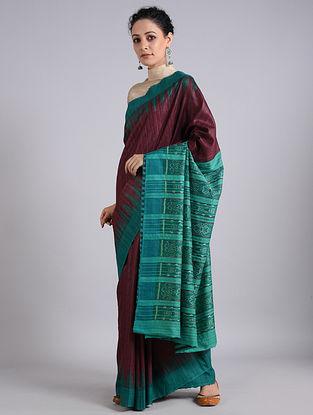 Green-Magenta Handwoven Sambalpuri Ikat Tussar Silk Saree