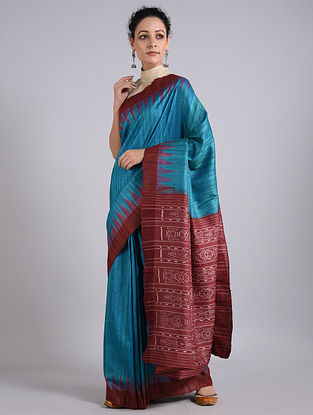 Blue-Red Handwoven Sambalpuri Ikat Tussar Silk Saree