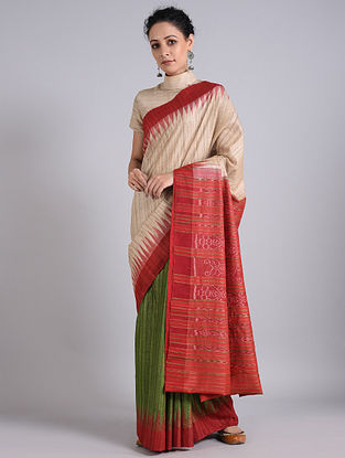 Cream-Red Handwoven Sambalpuri Ikat Tussar Silk Saree