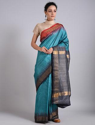 Blue Handwoven Sambalpuri Ikat Tussar Silk Saree