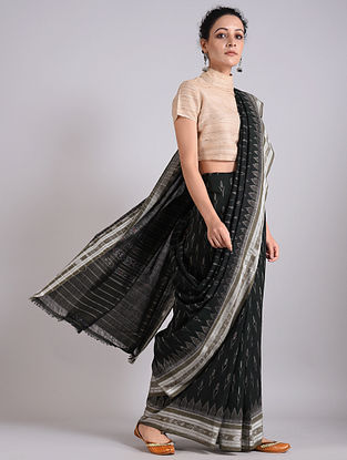 Black Handwoven Sambalpuri Ikat Cotton Saree