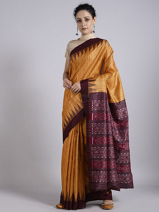 Mustard-Red Handwoven Sambalpuri Ikat Tussar Silk Saree