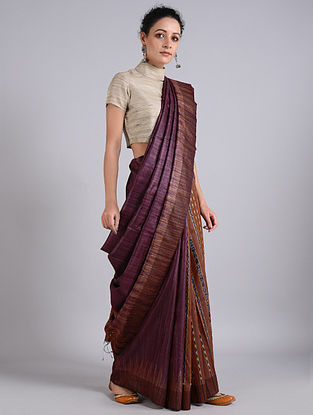 Purple-Brown Handwoven Sambalpuri Ikat Tussar Silk Saree