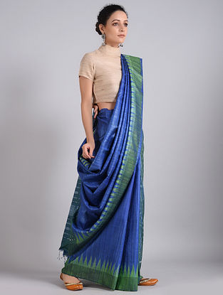 Blue-Green Handwoven Sambalpuri Ikat Tussar Silk Saree