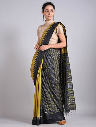 Black-Golden Handwoven Sambalpuri Ikat Tussar Silk Saree