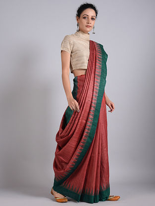 Red-Green Handwoven Sambalpuri Ikat Tussar Silk Saree