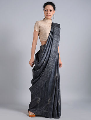 Black-Red Handwoven Sambalpuri Ikat Tussar Silk Saree