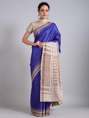 Blue-Beige Handwoven Sambalpuri Ikat Tussar Silk Saree