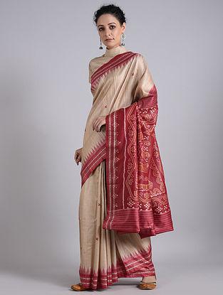 Beige-Red Handwoven Sambalpuri Ikat Tussar Silk Saree