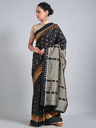 Black-Bronze Handwoven Sambalpuri Ikat Silk Saree